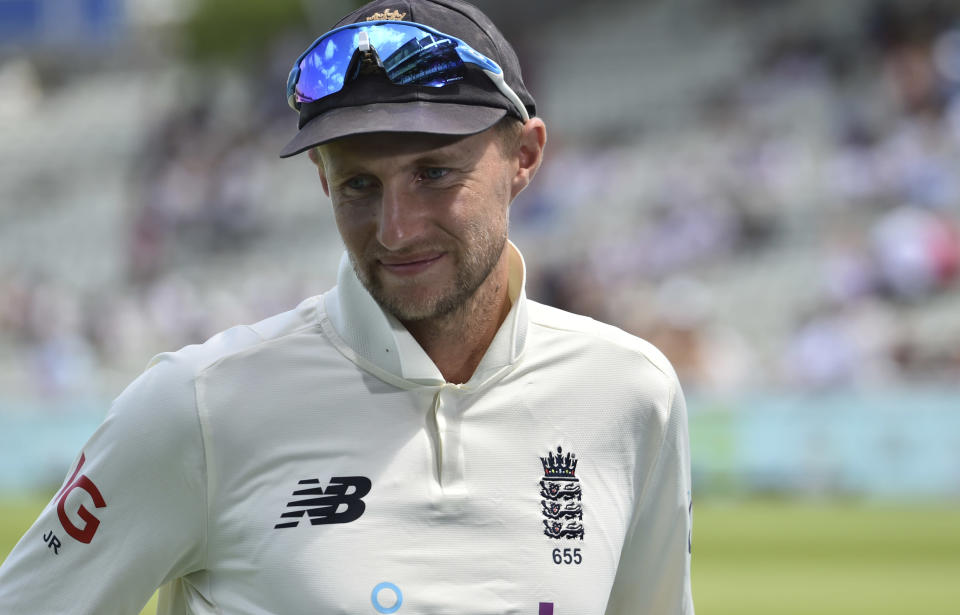 England captain Joe Root is seen during the presentation ceremony after their loss in the second cricket test match against New Zealand at Edgbaston in Birmingham, England, Sunday, June 13, 2021. New Zealand won the series 1-0. (AP Photo/Rui Vieira)