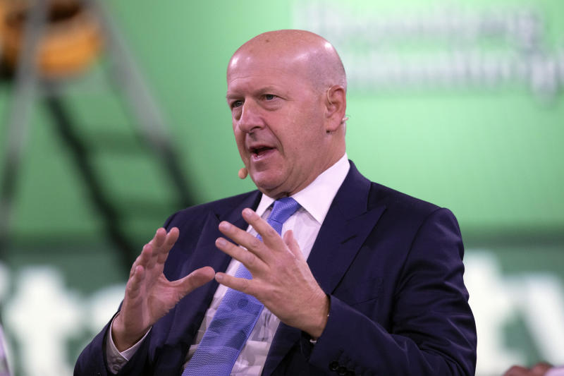 David Solomon, Chairman and CEO of Goldman Sachs, speaks at the Bloomberg Global Business Forum, Wednesday, Sept. 25, 2019, in New York. (AP Photo/Mark Lennihan)
