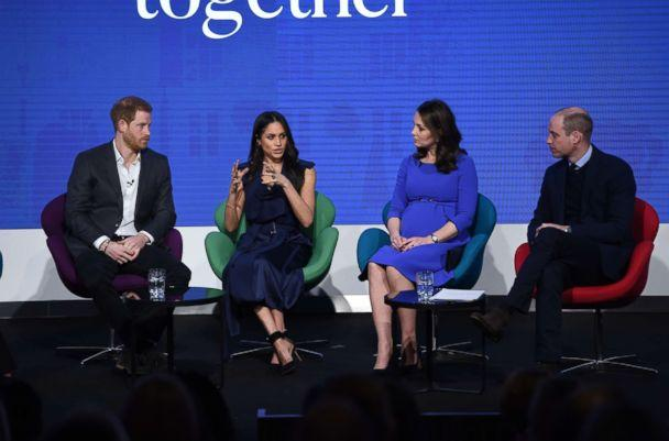 PHOTO: Prince Harry, Meghan Markle, Catherine, Duchess of Cambridge and Prince William, Duke of Cambridge attend the first annual Royal Foundation Forum held at Aviva on Feb. 28, 2018 in London, England. (Eddie Mulholland/WPA Pool/Getty Images)