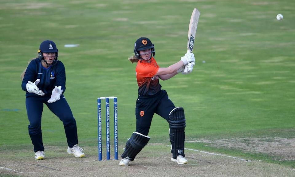 Emily Windsor hits out during her innings of 47 in an unbeaten stand of 76 that brought Southern Vipers victory.