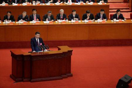 Chinese President Xi Jinping delivers his speech during the opening session of the 19th National Congress of the Communist Party of China at the Great Hall of the People in Beijing, China October 18, 2017. REUTERS/Jason Lee