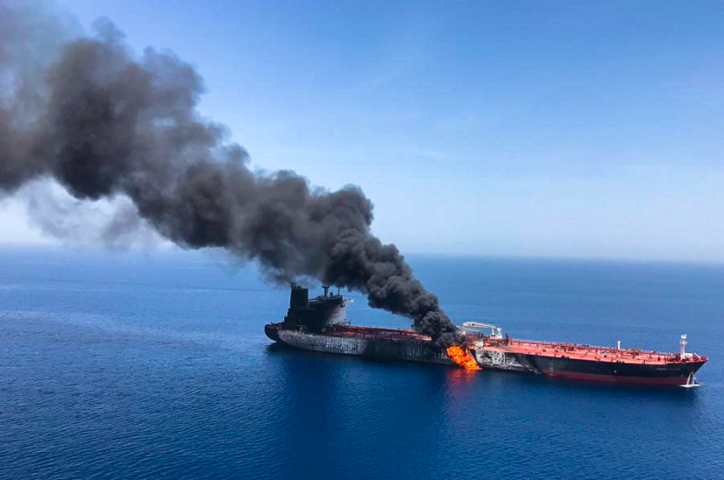 The tanker was pictured on fire and adrift in the Gulf of Oman (Reuters)