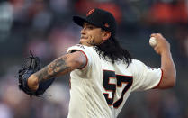 San Francisco Giants pitcher Dereck Rodriguez works against the Miami Marlins during the first inning of a baseball game Tuesday, June 19, 2018, in San Francisco. (AP Photo/Ben Margot)
