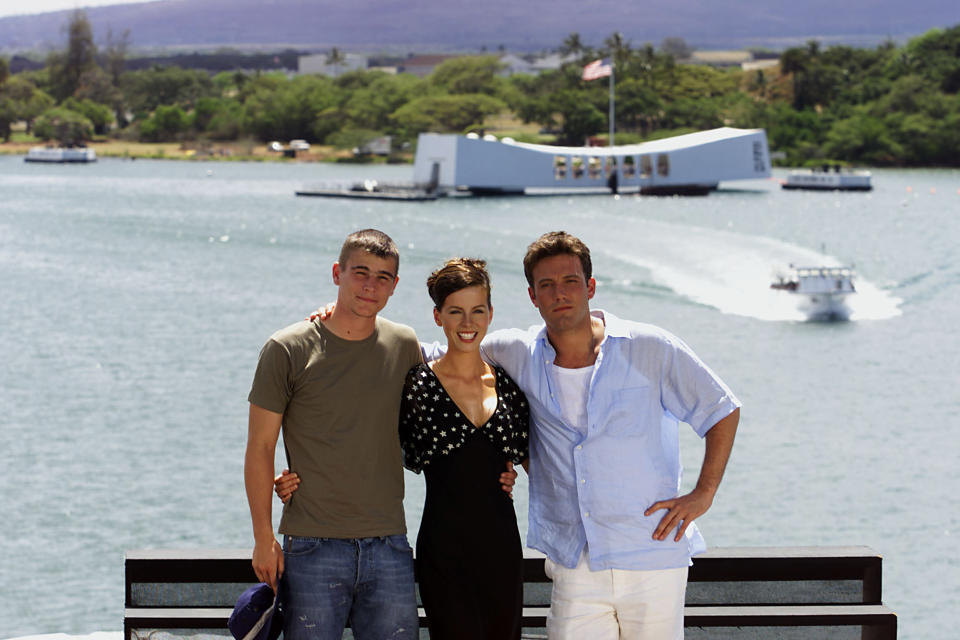 From left: Josh Hartnett, Kate Beckinsale and Ben Affleck gather together on the flight deck of the aircraft carrier USS John C. Stennis Sunday, May 20, 2001, in preparation for the world premier of the film