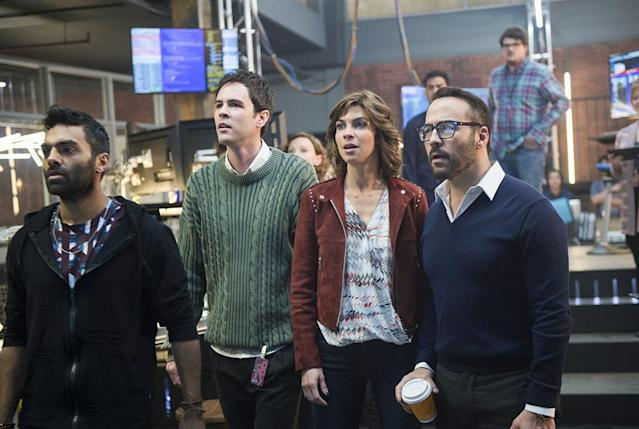 Jake Matthews as Tariq Bakari, Blake Lee as Josh Novak, Natalia Tena as Sara Morton, and Jeremy Piven as Jeffrey Tanner in 'Wisdom of the Crowd' (Photo: Diyah Pera/CBS)
