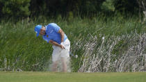 Lee Westwood, of England, hits out of the sand on the sixth hole during a practice round at the PGA Championship golf tournament on the Ocean Course Wednesday, May 19, 2021, in Kiawah Island, S.C. (AP Photo/Matt York)