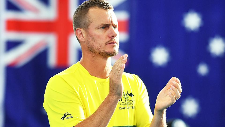 Lleyton Hewitt, pictured here during Australia's Davis Cup tie against Brazil in 2020.