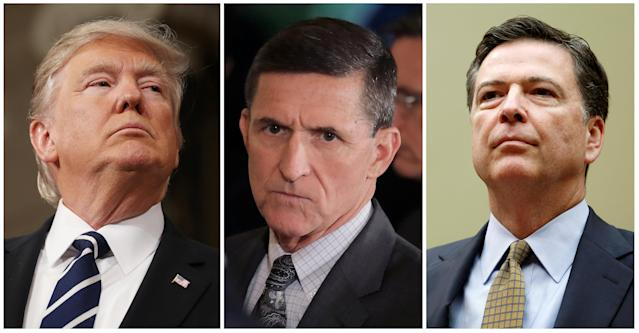 President Donald Trump, Former White House National Security Advisor Michael Flynn, and Former FBI Director James Comey (REUTERS/Jim Lo Scalzo/Pool, Carlos Barria, Gary Cameron)