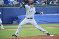 New York Yankees starting pitcher Jordan Montgomery throws to a Toronto Blue Jays batter during the first inning of a baseball game, Tuesday, June 15, 2021, in Buffalo, N.Y. (AP Photo/Jeffrey T. Barnes)