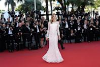 Supermodel Ana Beatriz Barros wore a pristine white gown on the red carpet.