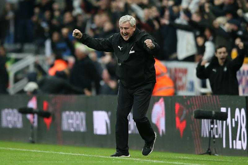 NEWCASTLE UPON TYNE, ENGLAND - OCTOBER 06: Steve Bruce, Manager of Newcastle United celebrates his teams opening goal during the Premier League match between Newcastle United and Manchester United at St. James Park on October 06, 2019 in Newcastle upon Tyne, United Kingdom. (Photo by Jan Kruger/Getty Images)