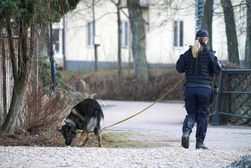 Police officer with dog patrols at knife attack site in Vetlanda