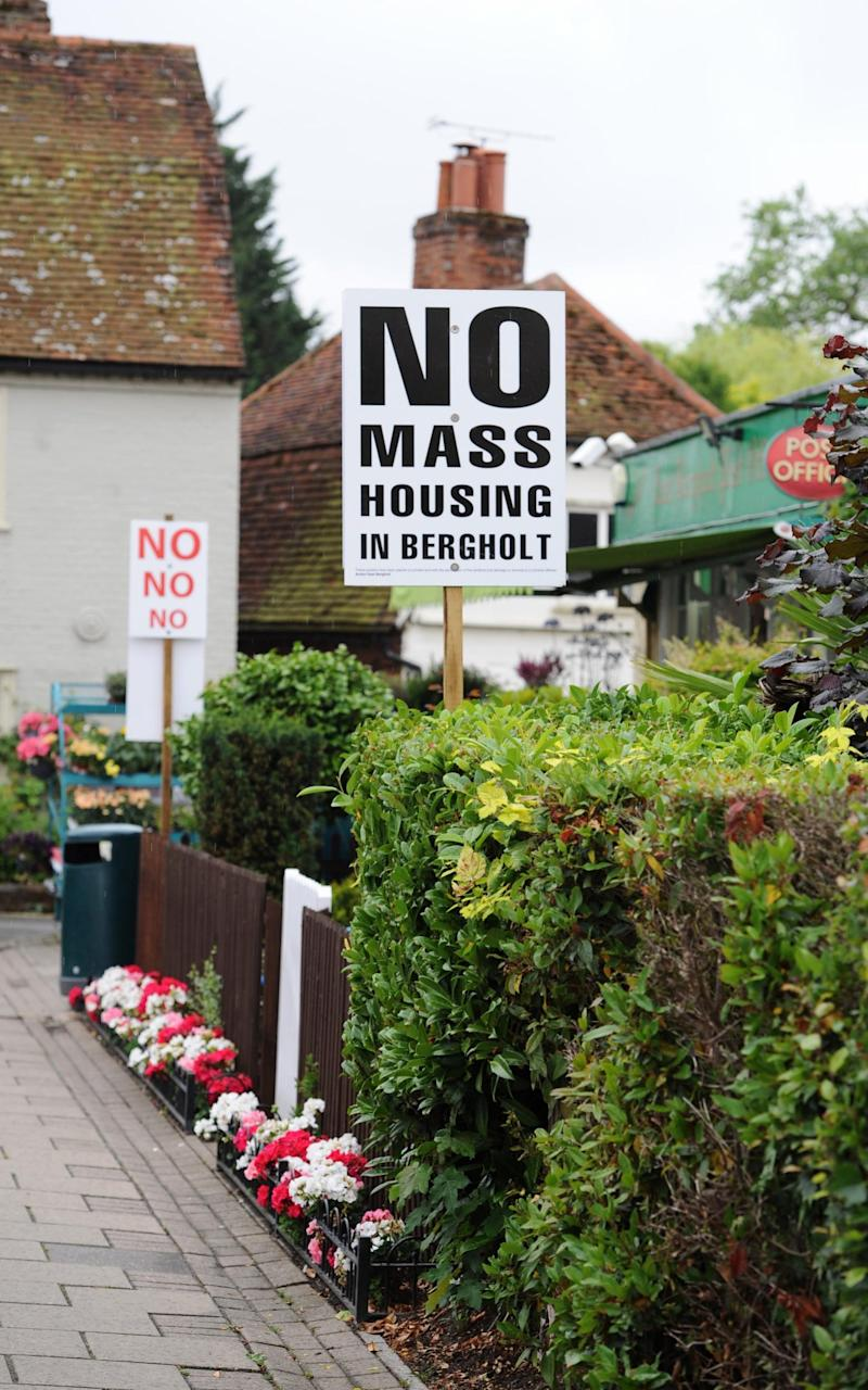 Anti housing posters in East Bergholt - Credit: Archant