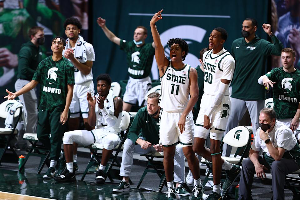 EAST LANSING, MICHIGAN - MARCH 02: A.J. Hoggard #11 and the Michigan State Spartans celebrates in the second half of the game against the Indiana Hoosiers at Breslin Center on March 02, 2021 in East Lansing, Michigan. (Photo by Rey Del Rio/Getty Images)