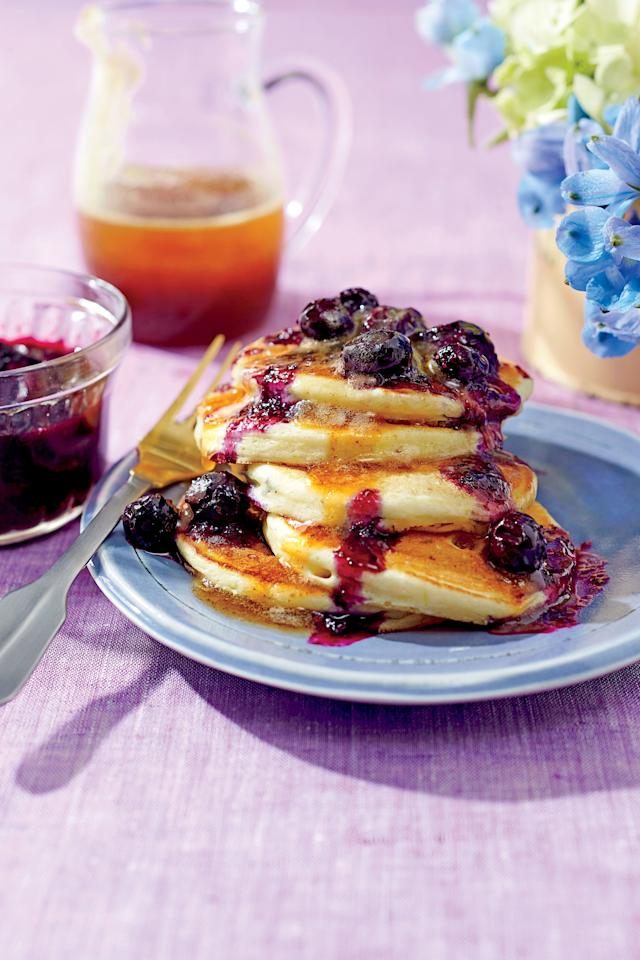 """<p><b>Recipe: </b><a href=""""https://www.southernliving.com/syndication/ricotta-pancakes-brown-butter-maple-syrup-blueberry-compote""""><b>Ricotta Pancakes with Brown Butter-Maple Syrup and Blueberry Compote</b></a></p> <p>These light and fluffy pancakes are great on their own, but even better when they're topped with our Brown Butter-Maple Syrup and <a href=""""http://www.myrecipes.com/recipe/blueberry-compote"""" target=""""_blank"""">Blueberry Compote</a>. </p>"""