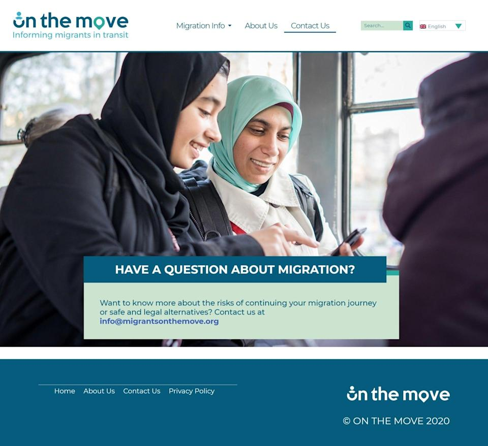 The 'contact us' section of the Home Office's On The Move website (screengrab)