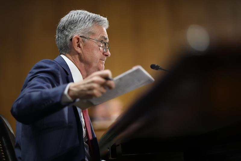 "WASHINGTON, DC - JULY 11: Federal Reserve Board Chairman Jerome Powell testifies before the Senate Banking, Housing and Urban Affairs Committee July 11, 2019 in Washington, DC. Powell delivered testimony on the ""Semiannual Monetary Policy Report to the Congress."" (Photo by Win McNamee/Getty Images)"
