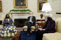 U.S. President Biden receives the weekly economic briefing at White House event in Washington