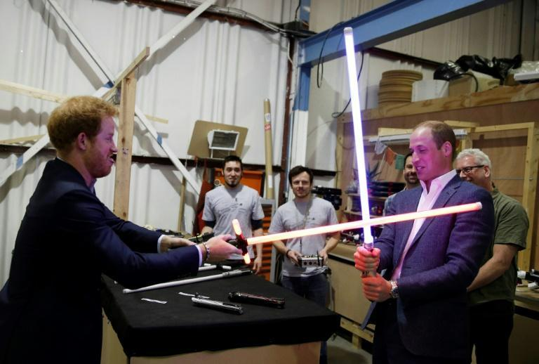 Britain's Prince Harry and Prince William paid a royal visit to the studios where Star Wars films are made