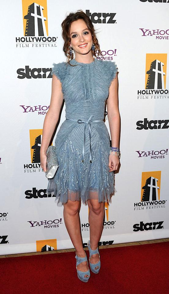 """<a href=""""http://movies.yahoo.com/movie/contributor/1807650409"""">Leighton Meester</a> attends the 14th Annual Hollywood Awards Gala at the Beverly Hilton Hotel on October 25, 2010."""