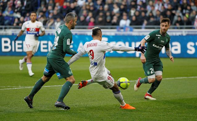 Soccer Football - Ligue 1 - Olympique Lyonnais vs Saint-Etienne - Groupama Stadium, Lyon, France - February 25, 2018 Lyon's Mariano scores their first goal REUTERS/Emmanuel Foudrot