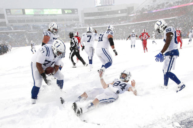 <p>Indianapolis Colts tight end Jack Doyle, center, celebrates in the end zone during the second half of an NFL football game against the Buffalo Bills, Sunday, Dec. 10, 2017, in Orchard Park, N.Y. (AP Photo/Jeffrey T. Barnes) </p>