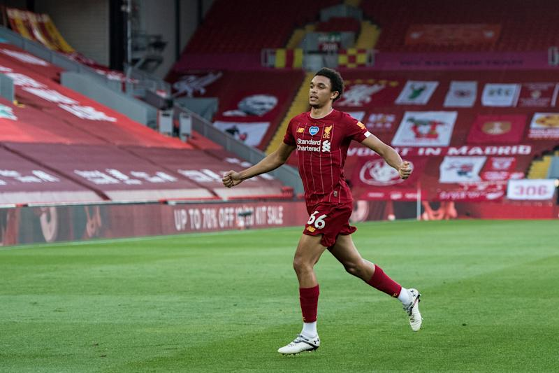 LIVERPOOL, ENGLAND - JUNE 24: Trent Alexander-Arnold of Liverpool FC celebrates after scoring his team's first goal during the Premier League match between Liverpool FC and Crystal Palace at Anfield on June 24, 2020 in Liverpool, United Kingdom. (Photo by Sebastian Frej/MB Media/Getty Images)