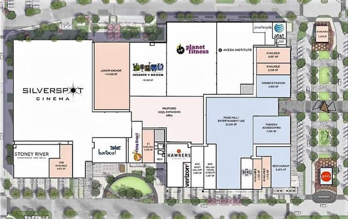 A floor plan submitted by Ram Realty Advisors shows how the existing University Place mall could look once all the changes, including a planned demolition of the former Southern Season store, have been completed.