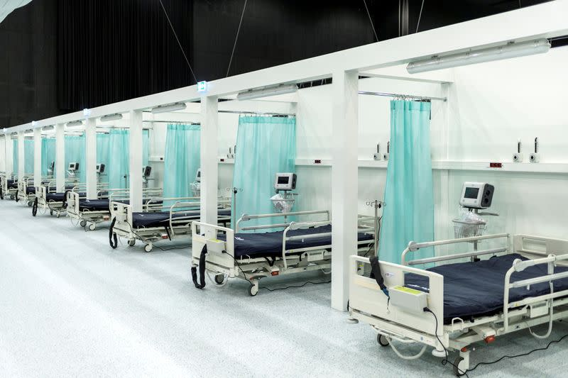 A temporary coronavirus disease (COVID-19) hospital at the International Congress Centre is pictured in Katowice