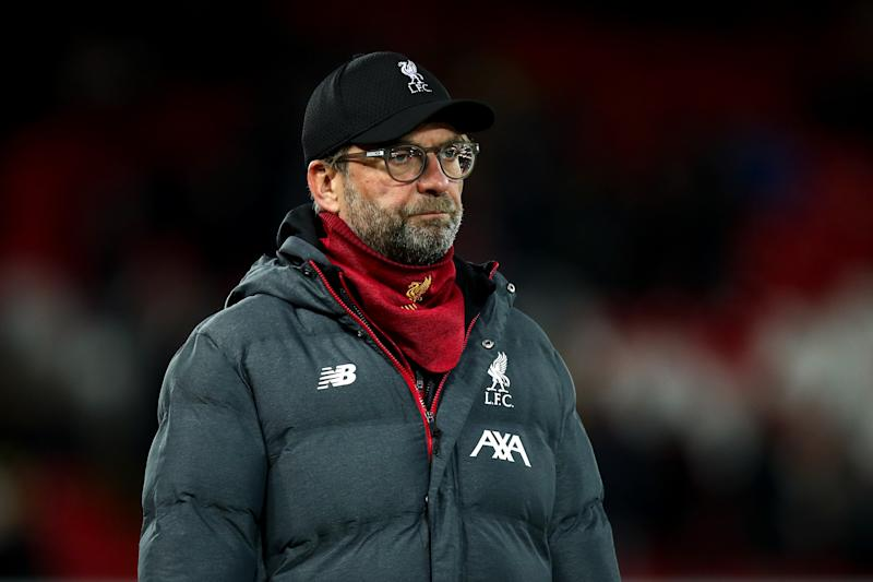 LIVERPOOL, ENGLAND - OCTOBER 30: Jurgen Klopp the head coach / manager of Liverpool during the Carabao Cup Round of 16 match between Liverpool and Arsenal at Anfield on October 30, 2019 in Liverpool, England. (Photo by Robbie Jay Barratt - AMA/Getty Images)