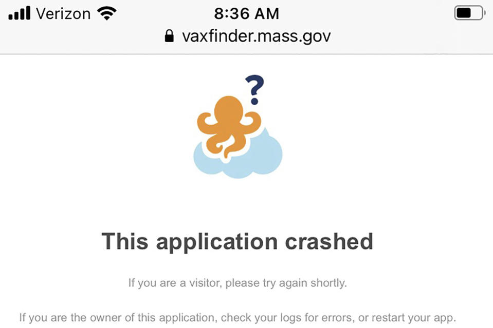This image shows a message that appeared on the Massachusetts vaccine portal when it crashed in February. The COVID-19 vaccine deployment has exposed technology shortcomings across the nation's fragmented public health systems. (AP Photo)