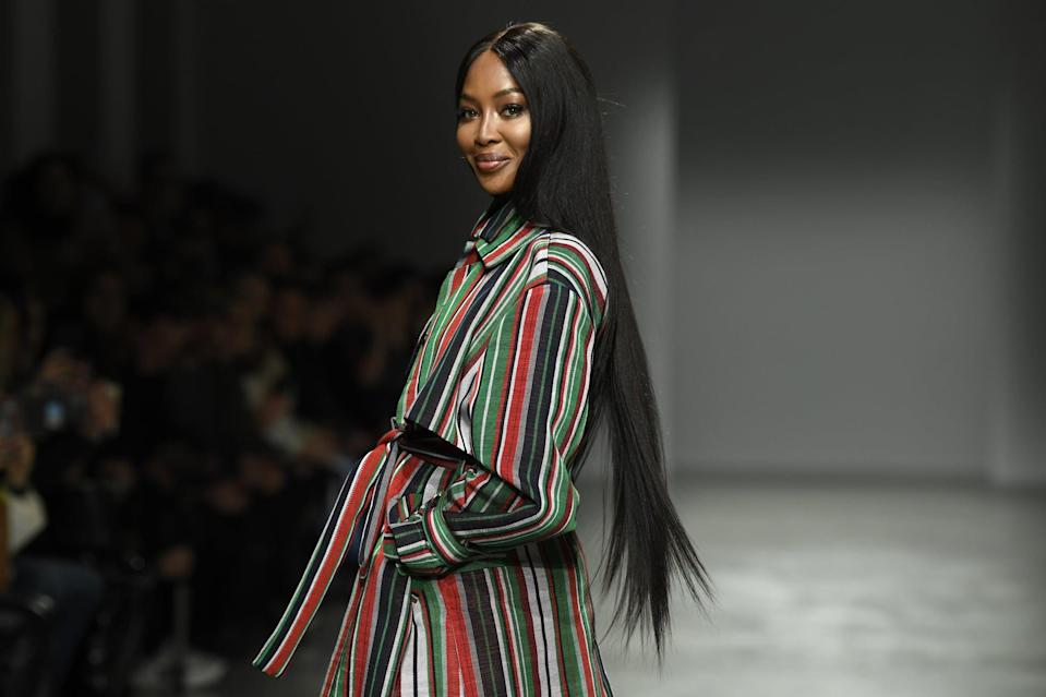 PARIS, FRANCE - FEBRUARY 24: (EDITORIAL USE ONLY) Naomi Campbell walks the runway during the Kenneth Ize show as part of Paris Fashion Week Womenswear Fall/Winter 2020/2021 on February 24, 2020 in Paris, France. (Photo by Kristy Sparow/Getty Images)