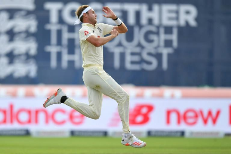 England's Stuart Broad in action during the first Test against Pakistan at Old Trafford