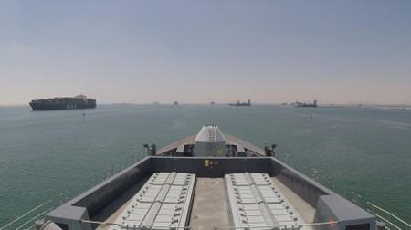 Royal Navy destroyer HMS Duncan passes through the Suez Canal