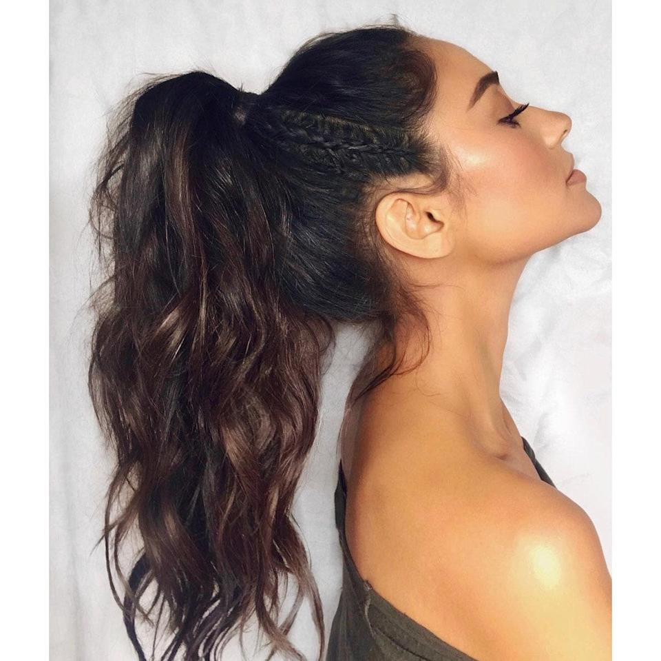 Weave a thin braid from brow bone to the base of your ponytail.
