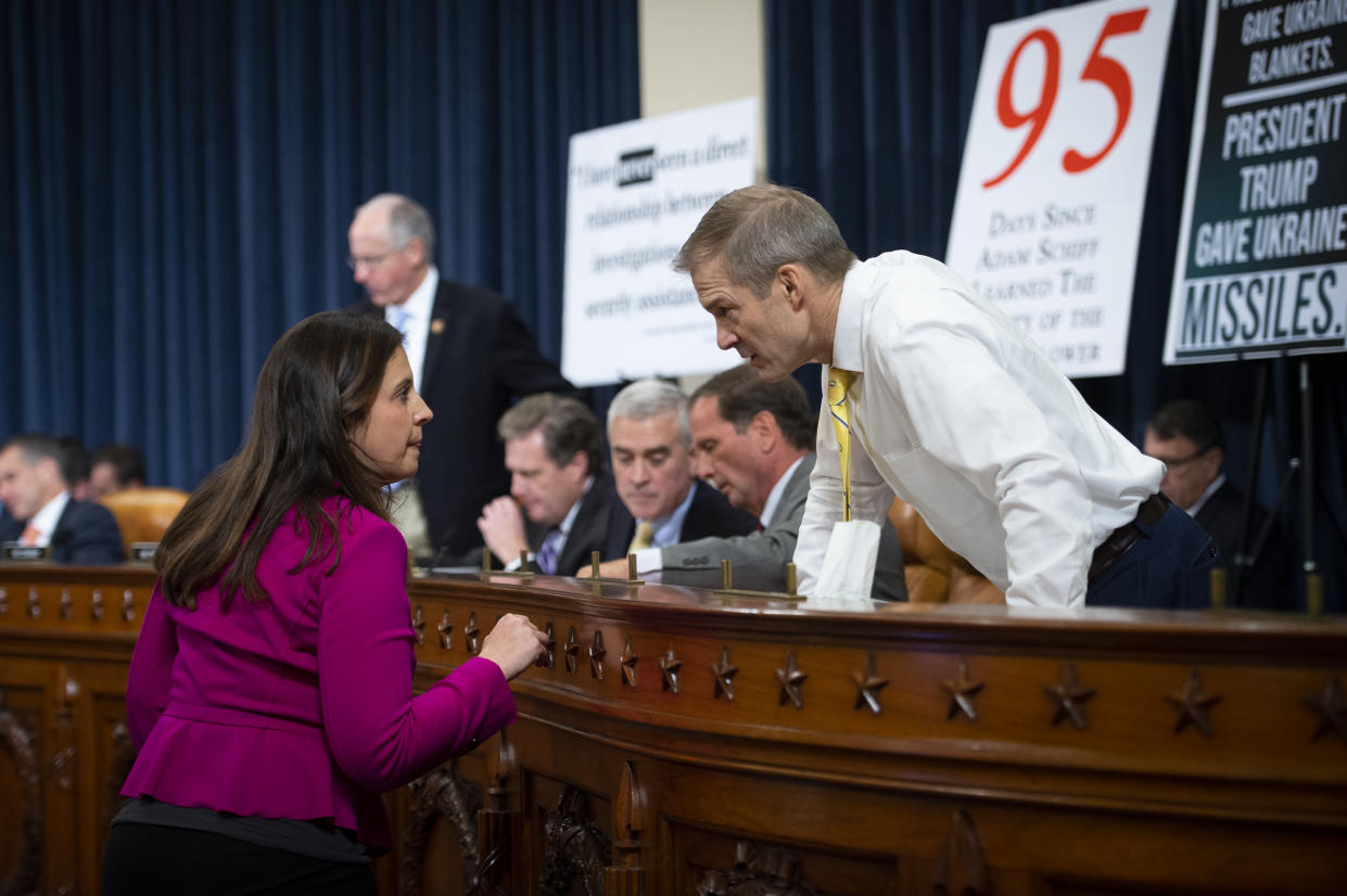 Rep. Elise Stefanik, R-N.Y., talks with Rep. Jim Jordan, R-Ohio, during the House Select Intelligence Committee hearing on the impeachment inquiry into President Donald Trump with former U.S. Ambassador to Ukraine Marie Yovanovitch on Friday Nov. 15, 2019. (Photo: Caroline Brehman/CQ-Roll Call, Inc via Getty Images)
