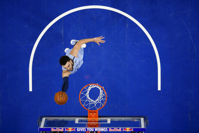 Memphis Grizzlies' Tyus Jones shoots during the first half of the team's NBA basketball game against the Philadelphia 76ers, Friday, Feb. 7, 2020, in Philadelphia. (AP Photo/Matt Slocum)