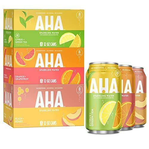 "<p><strong>AHA Sparkling Water</strong></p><p>amazon.com</p><p><strong>$20.50</strong></p><p><a href=""https://www.amazon.com/dp/B08CFGVS81?tag=syn-yahoo-20&ascsubtag=%5Bartid%7C2143.g.36112913%5Bsrc%7Cyahoo-us"" rel=""nofollow noopener"" target=""_blank"" data-ylk=""slk:Shop Now"" class=""link rapid-noclick-resp"">Shop Now</a></p><p>Just like the others here, Aha is made up of just carbonated water and natural flavorings, with no added sweeteners or any other sneaky ingredients. It tastes pleasantly fruity without being too overwhelming, and there are a bunch of different flavors to choose from. They also make a caffeinated version for those who need some extra energy. </p>"
