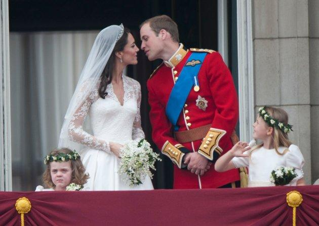 Catherine, Duchess of Cambridge and Prince William, Duke of Cambridge on the balcony at Buckingham Palace on their wedding day in 2011.