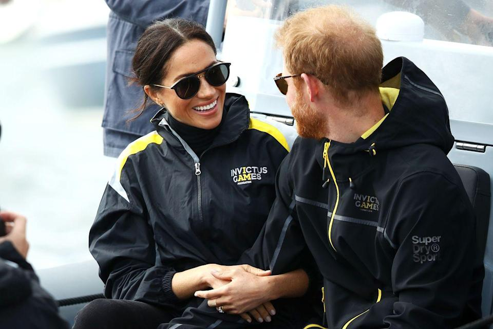 <p>The couple were on board a boat in Sydney Harbor to watch the Elliott 7 Team race in the Sailing of the Invictus Games. </p>