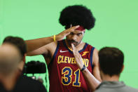 Cleveland Cavaliers' Jarrett Allen does a video shoot during the NBA basketball team's media day, Monday, Sept. 27, 2021, in Independence, Ohio. (AP Photo/Ron Schwane)