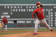 Los Angeles Angels starting pitcher Dillon Peters delivers to a Boston Red Sox batter during the first inning of a baseball game at Fenway Park, Thursday, Aug. 8, 2019, in Boston. (AP Photo/Elise Amendola)