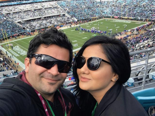 Ayad Shamsaldin and his wife Rana take in their first football game at Sunday's AFC wild-card contest between the Jaguars and Bills. (Courtesy of Ayad Shamsaldin)