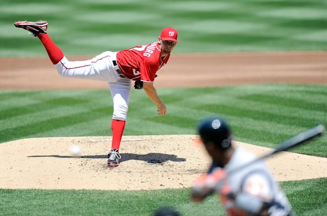 WASHINGTON, DC - MAY 20: Stephen Strasburg #37 of the Washington Nationals pitches against the Baltimore Orioles at Nationals Park during interleague play on May 20, 2012 in Washington, DC. (Photo by Greg Fiume/Getty Images)