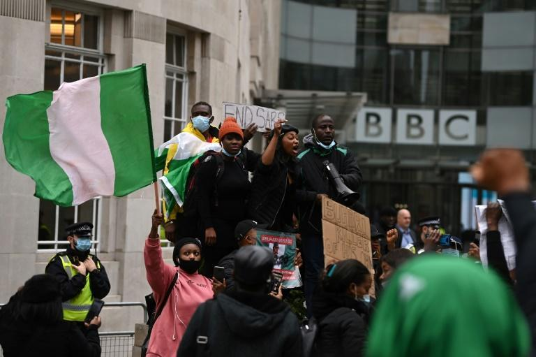 Protesters gathered at London landmarks such as Parliament Square and the BBC