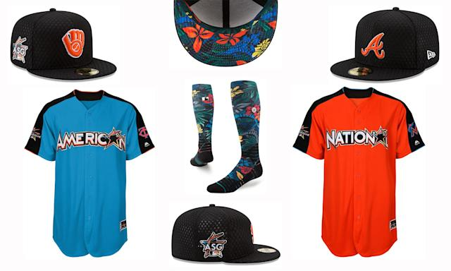 Jerseys, caps and socks for the Home Run Derby and All-Star workout day. (MLB)