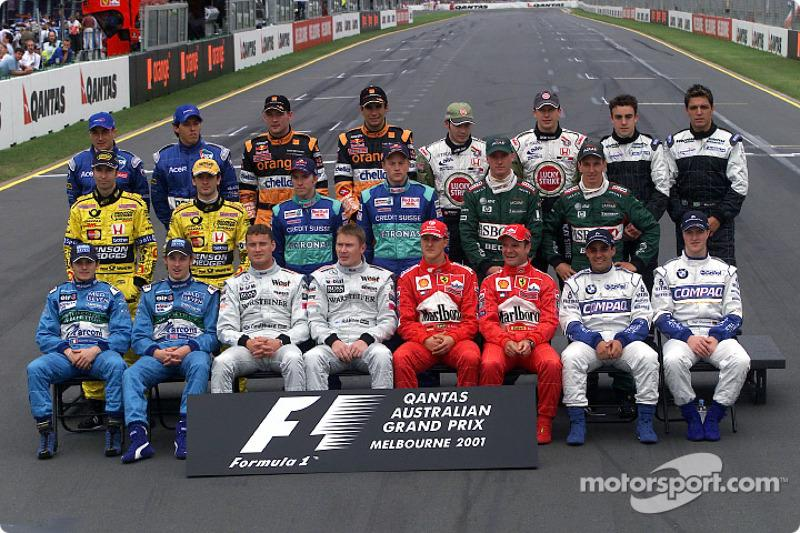 "Foto de grupo de los pilotos de F1 de 2001<span class=""copyright"">Ferrari Media Center</span>"