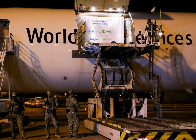 FILE PHOTO: Arrival of Pfizer-BioNTech vaccines against the coronavirus disease (COVID-19) at Viracopos International Airport, in Campinas