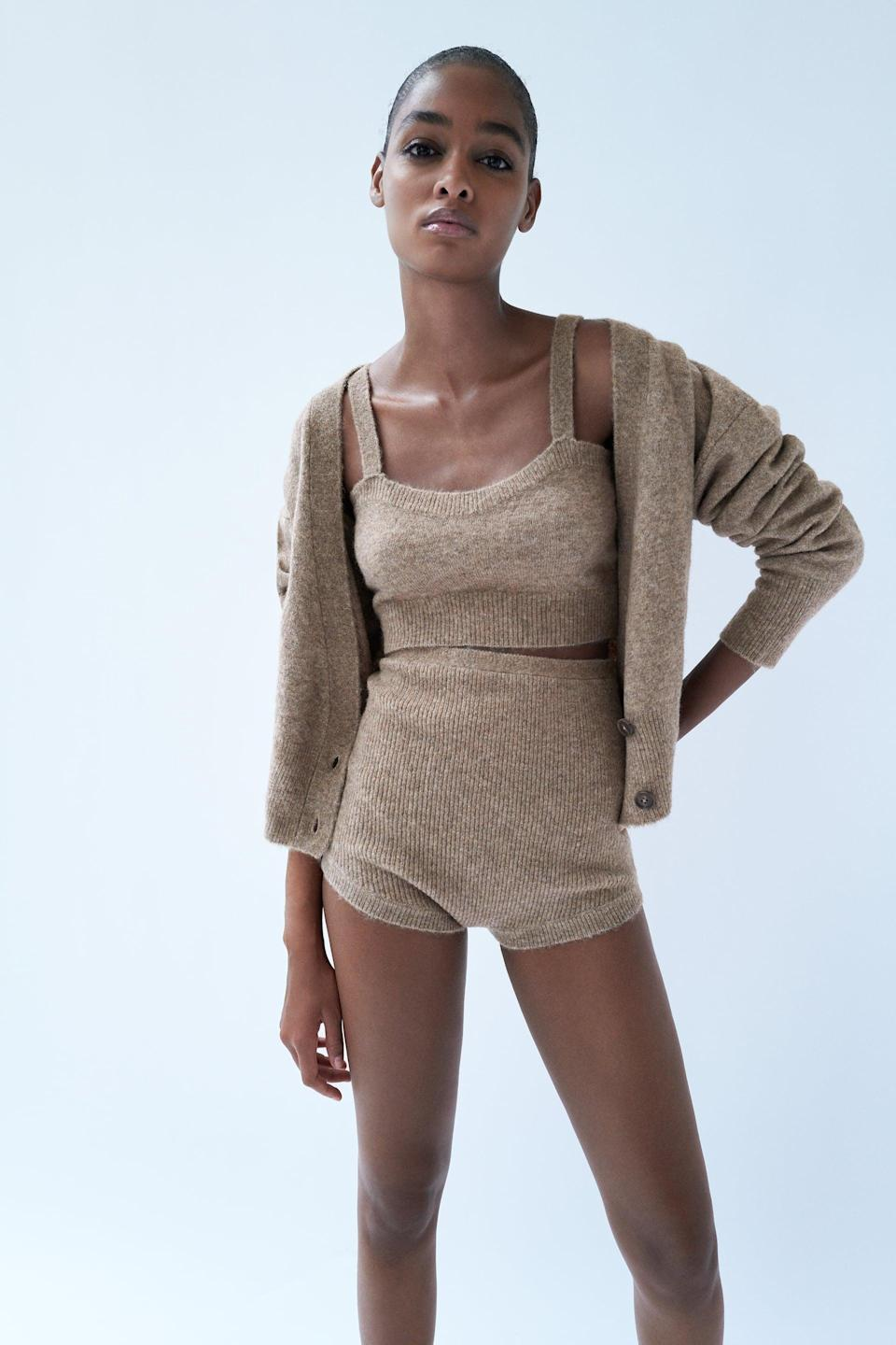 <p>The neutral tones of Zara's <span>Wool Blend Crop Top</span> ($20) and <span>Wool Blend Jacket</span> ($40) are so beautiful.</p>