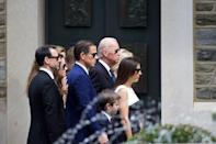 <p>Biden arrives with family for a mass of Christian burial at St. Anthony of Padua Church for his son, former Delaware Attorney General Beau Biden, on June 6, 2015 in Wilmington, Delaware. President Obama delivered a eulogy for the son of Vice President Biden after he died at 46 following a two-year battle with brain cancer.</p>